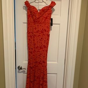 Red off the shoulder mermaid dress